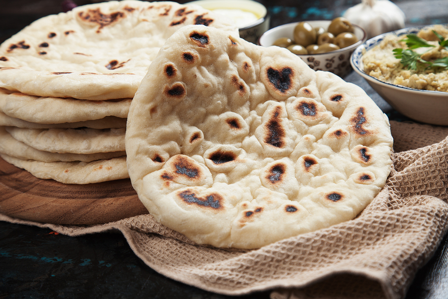 Home made pita bread, flatbread popular in turkish, lebanese and