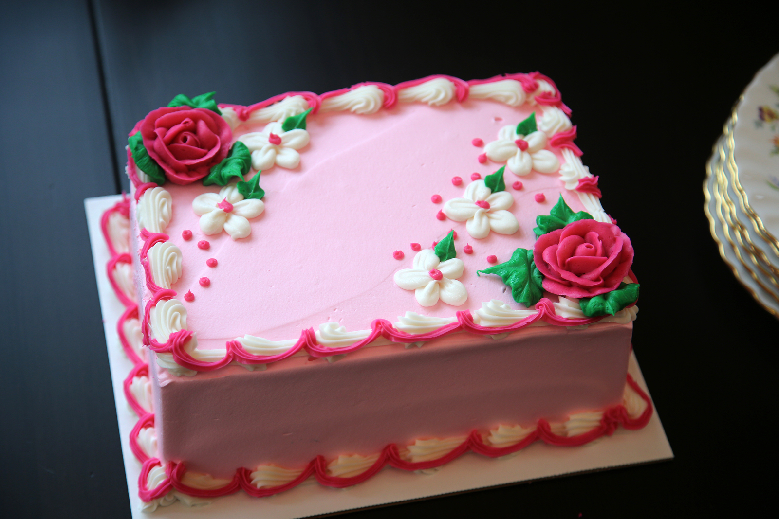 Birthday Cake. Pink Ice Cream Birthday Cake. Blank with room for