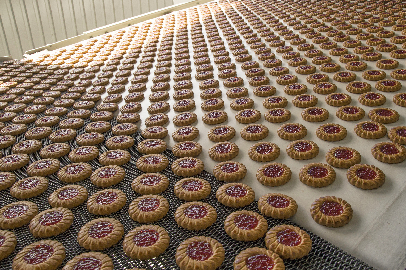 Production Of Cookies On Conveyor, Close Up