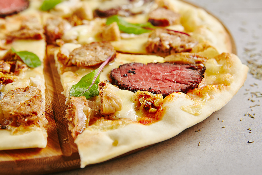 Bbq Meat Pizza with Beef, Pork, Lamb, Figs. Yeasted Flatbread To