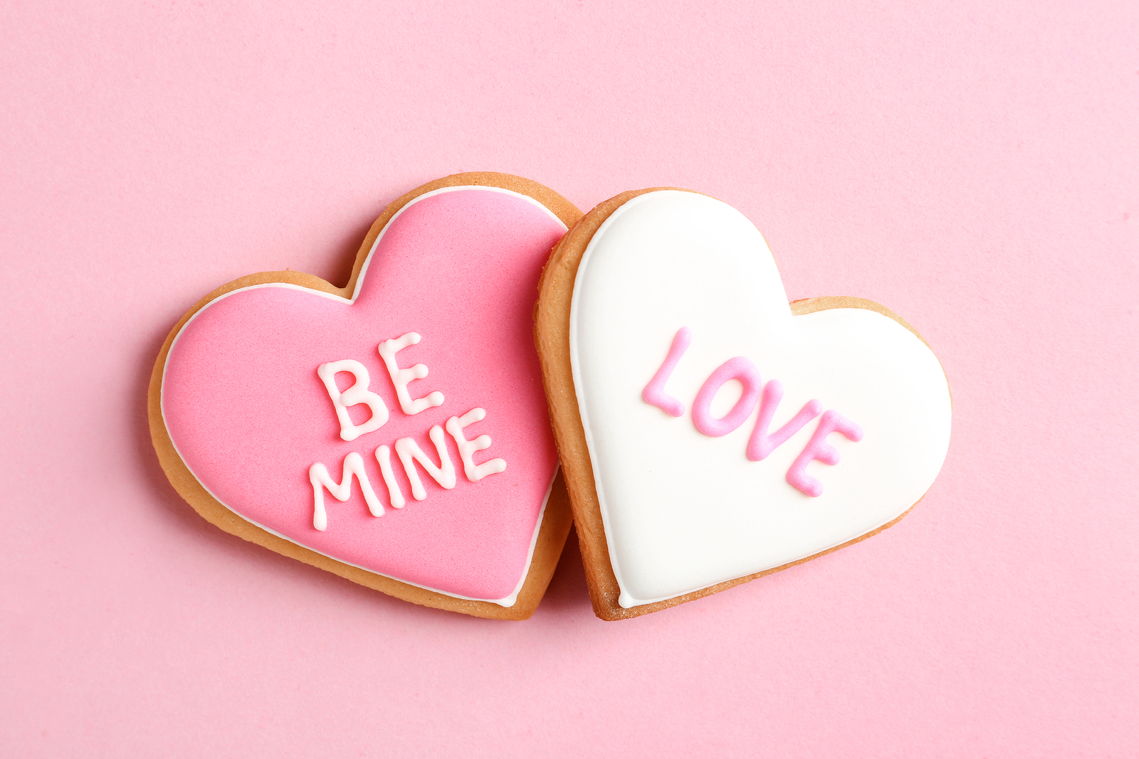 Decorated Heart Shaped Cookies On Color Background, Top View. Va