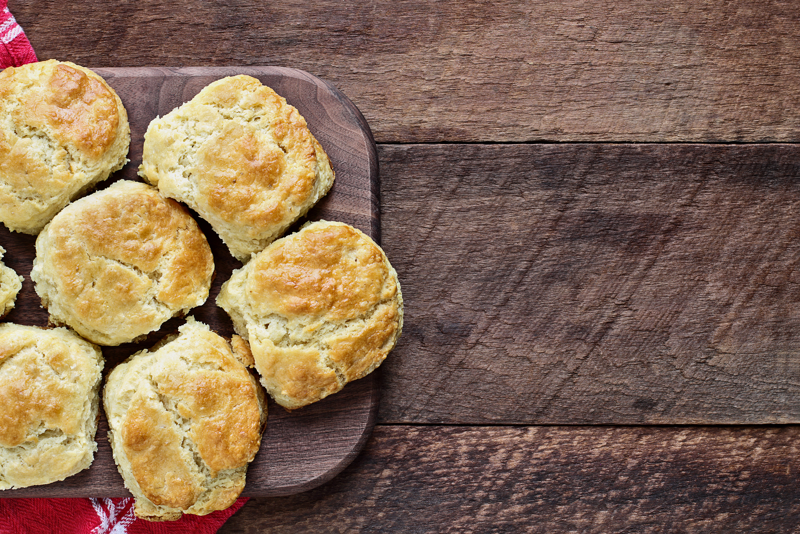 Fresh Buttermilk Southern Biscuits Or Scones Over A Rustic Woode